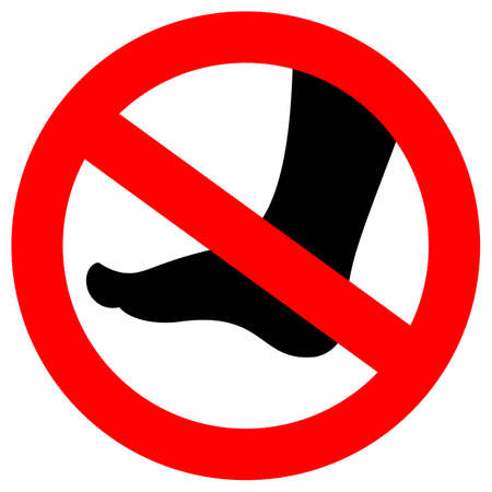 No barefoot vector sign Illustration