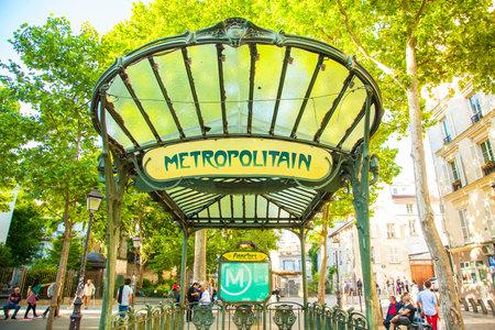 PARIS, FRANCE - 20 May 2017: Abbesses metropolitain station in Montmartre, famous Art Nouveau symbol