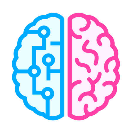 Left and right brain difference icon