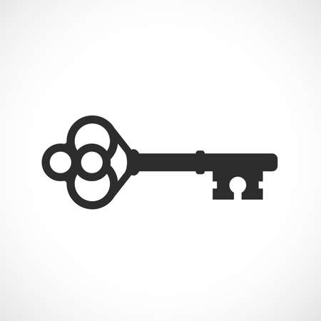 Old key vector icon Illustration