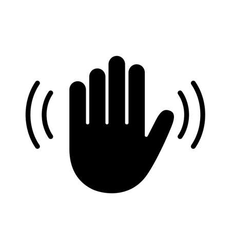 Wave hand vector icon