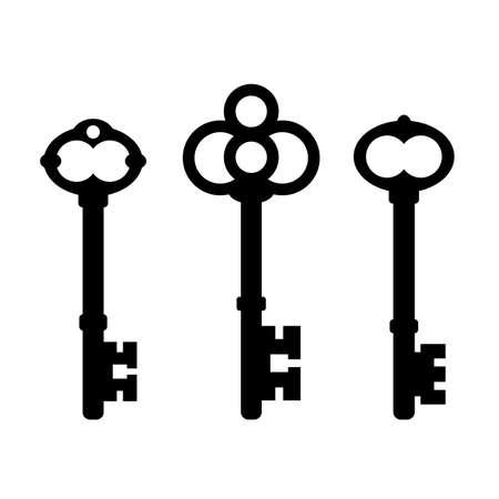 Old ornate key icon set