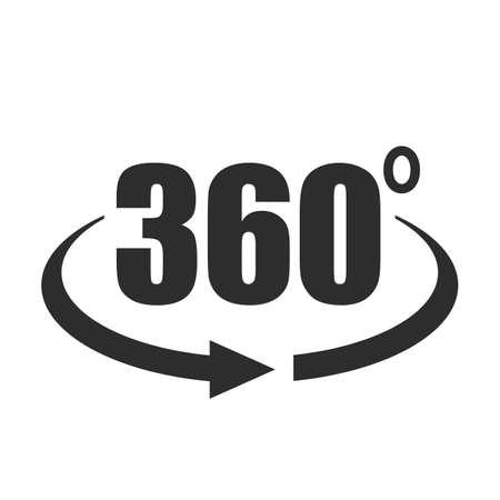 Icône de vecteur vue 360 degrés