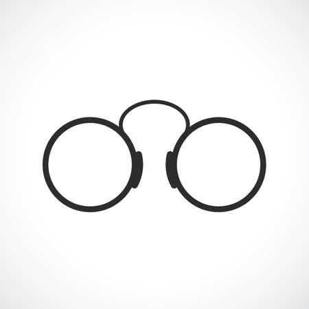 Old round eye glasses icon