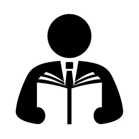 Mann liest Buch-Vektor-Symbol