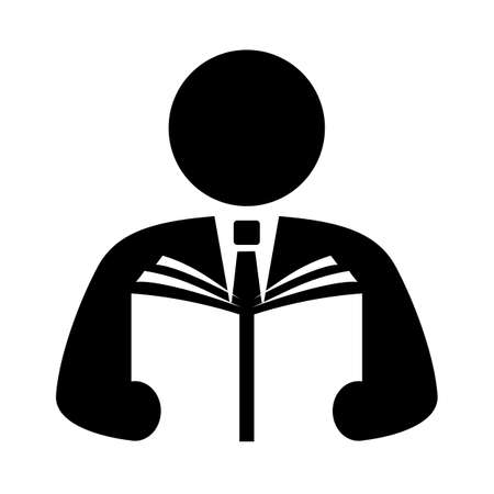 Man reading book vector icon