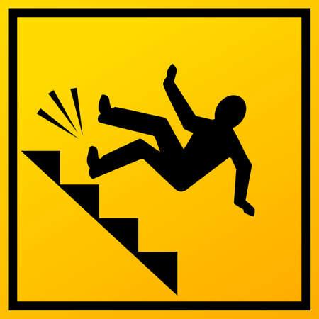 Homme tombant dans le signe de vecteur d'escaliers