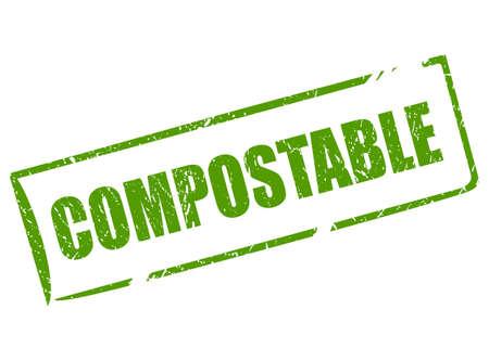 Kompostierbares Material rechteckiger Stempel Vektorgrafik