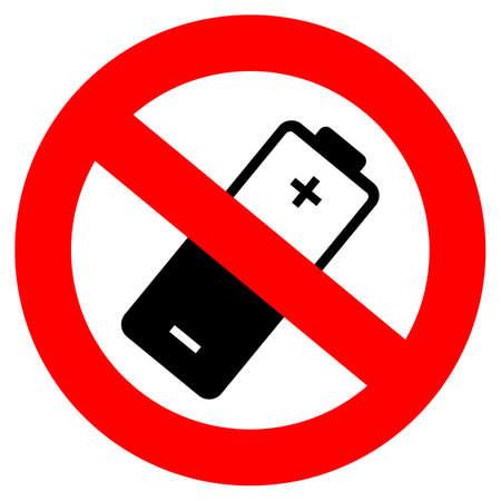 Werfen Sie keine Batterien in das Trümmervektorzeichen