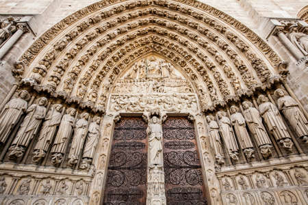 Entrance to Notre-Dame cathedral in Paris, France