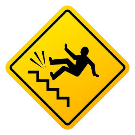 Danger of falling vector sign Illustration