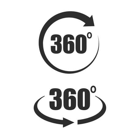 360 degree tour icons set
