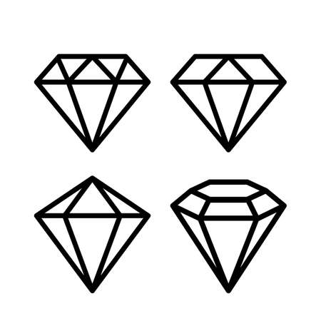 Crystal stone line icons set