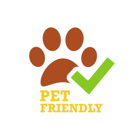Green tick and pet friendly emblem Illustration