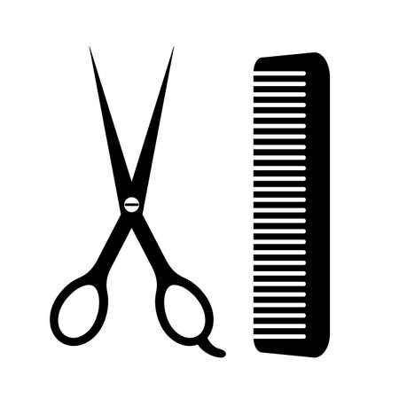 Barber tools scissors and comb icon