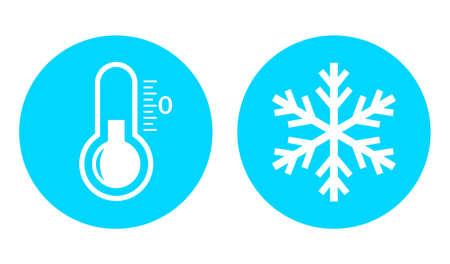 Icône de vecteur de température froide sur fond blanc
