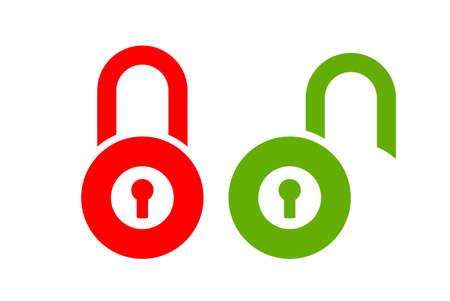 Lock unlock vector icon set on white background