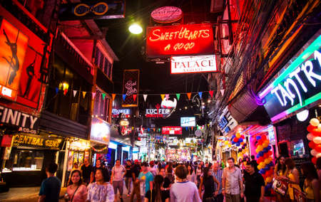 PATTAYA, THAILAND - 23 April 2018: Walking Street – popular touristic entertainment area with many night clubs and go-go bars
