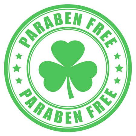 Green label paraben free on white background