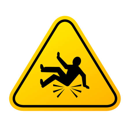 Accident fall warning sign on white background 矢量图像