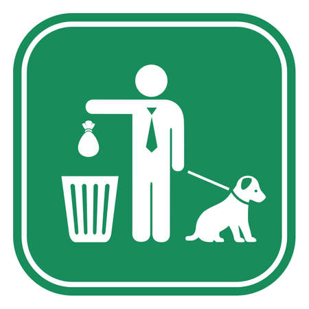 Clean up after your dog sign on white background Çizim