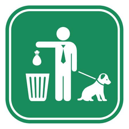 Limpiar después de que su perro firme sobre fondo blanco. Ilustración de vector