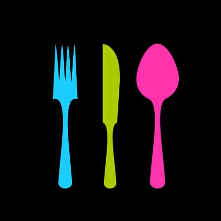 Fork knife spoon tableware vector icon set