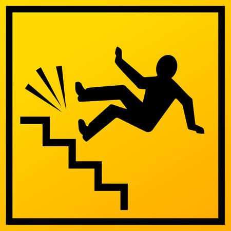 Escaleras caen vector de señal sobre fondo blanco.
