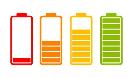Zestaw ikon wskaźnika naładowania baterii na białym tle