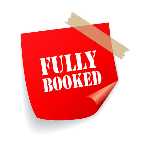 Fully booked red vector sticker on white background Ilustrace