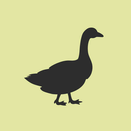 Goose poultry vector icon isolated on green background