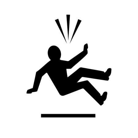 Homme tombant du pictogramme de vecteur de hauteur isolé sur fond blanc