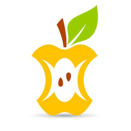 Angebissener Apfel-Vektor-Cartoon isoliert auf weißem Hintergrund