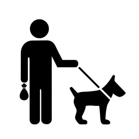 Ramassez après votre signe de chien isolé sur fond blanc Vecteurs