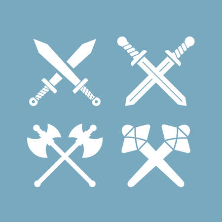 Old sword weapon icon set isolated on blue background