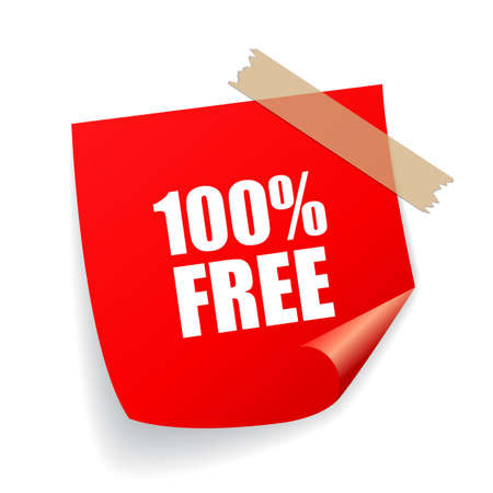 100 free red vector sticker isolated on white background