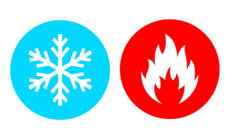 Hot and cold vector icon set on white background Stock Vector - 120882070