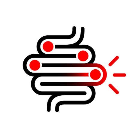 Bakterien im Darmvektorsymbol isoliert auf weißem Hintergrund Vektorgrafik