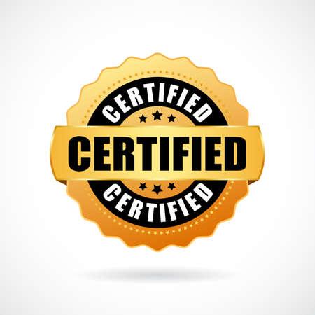 Zertifizierte Goldvektorikone lokalisiert auf weißem Hintergrund