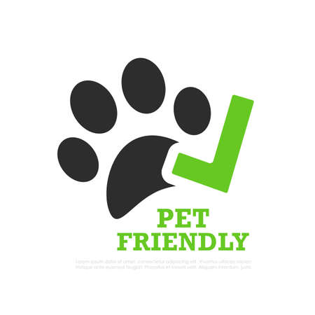 Pet friendly vector sign isolated on white background