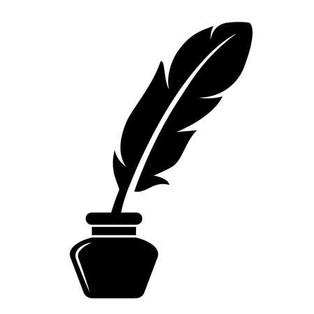 Icono de vector de pluma de tinta aislado sobre fondo blanco