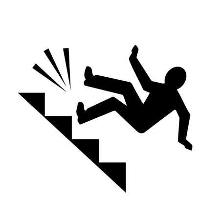 Homme tombant du pictogramme de vecteur d'escalier isolé Vecteurs