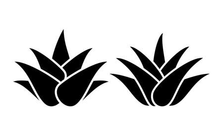 Aloe vera silhouette icon set isolated on white background  イラスト・ベクター素材