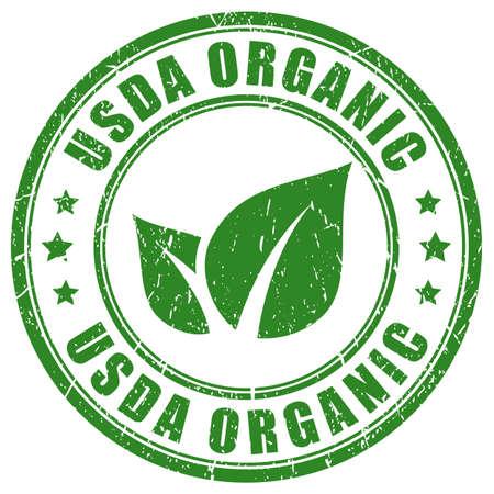 Sello verde orgánico de usda aislado sobre fondo blanco Ilustración de vector