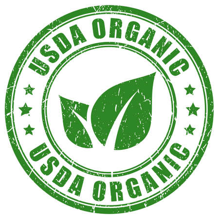 Usda organic green stamp isolated on white background Vetores