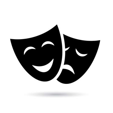 Antique theatre icon with masks isolated on white background Vektoros illusztráció