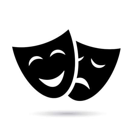 Icono de teatro antiguo con máscaras aislado sobre fondo blanco. Ilustración de vector