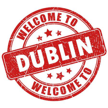 Benvenuti a Dublino timbro vettoriale isolato su sfondo bianco