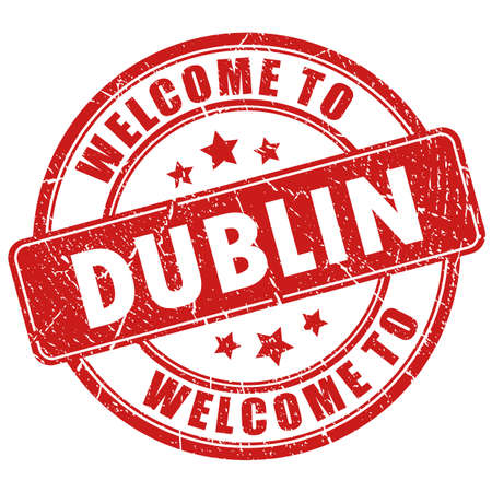 Willkommen bei Dublin-Vektor-Stempel isoliert auf weißem Hintergrund