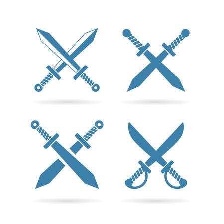 Crossed weapon vector sign set isolated on white background Stock Vector - 121012804